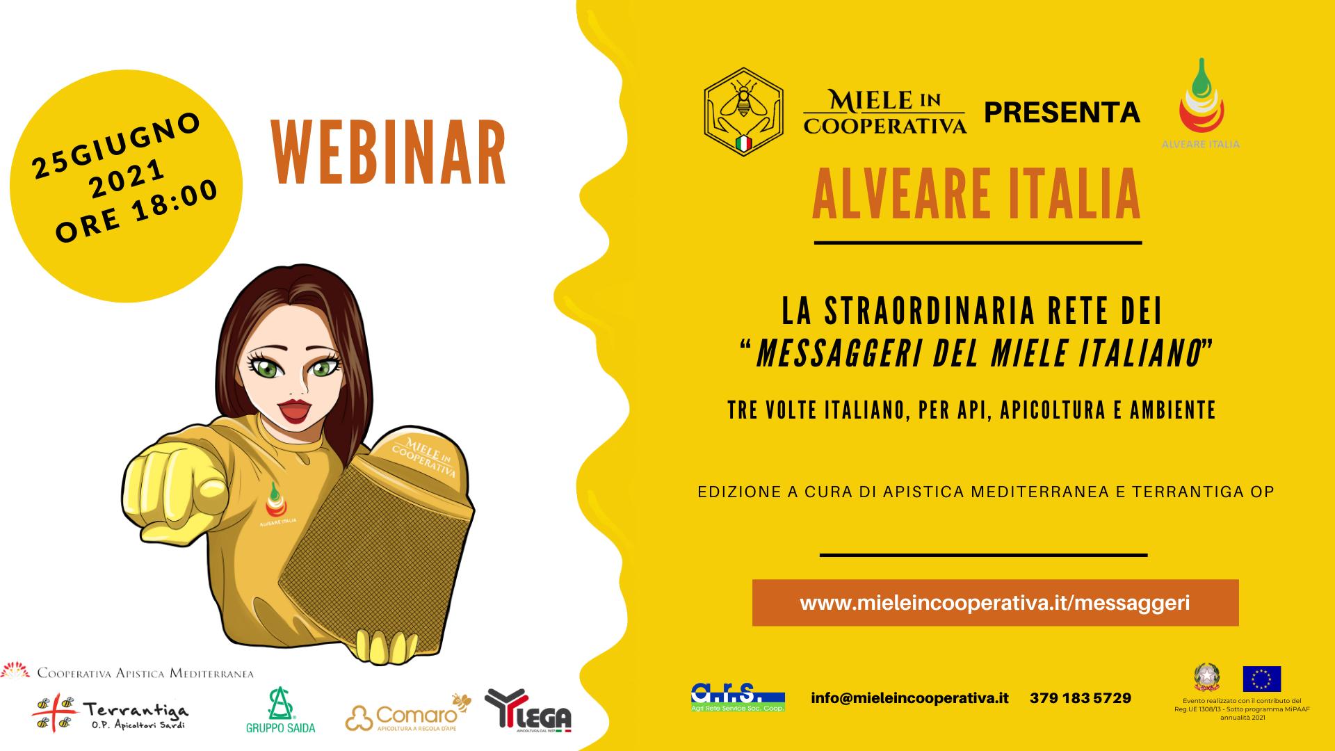 You are currently viewing Venerdi 25 giugno, ore 18:00, webinar del Progetto Alveare Italia.